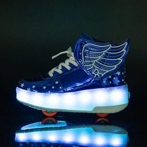 Roller Skates Boys Girls Kids Light Up Shoes Wheeled Skate USB Charge LED Wing Sneakers 47