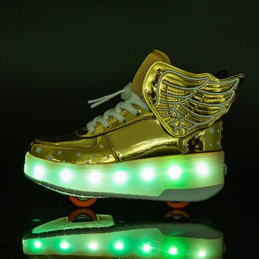 Roller Skates Boys Girls Kids Light Up Shoes Wheeled Skate USB Charge LED Wing Sneakers 49
