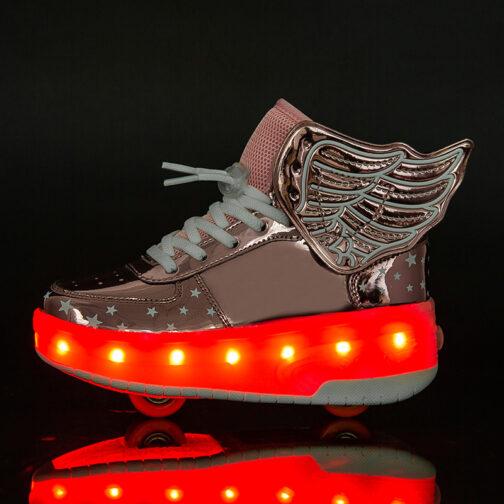 Roller Skates Boys Girls Kids Light Up Shoes Wheeled Skate USB Charge LED Wing Sneakers 50