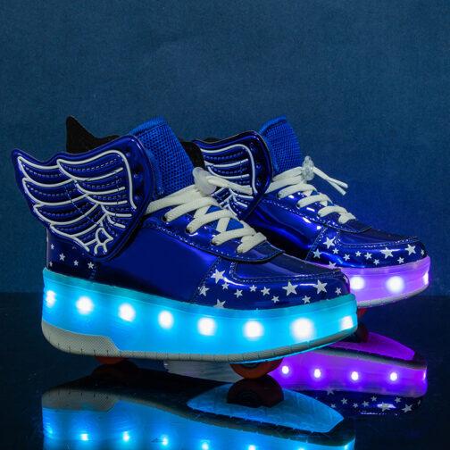 Roller Skates Boys Girls Kids Light Up Shoes Wheeled Skate USB Charge LED Wing Sneakers
