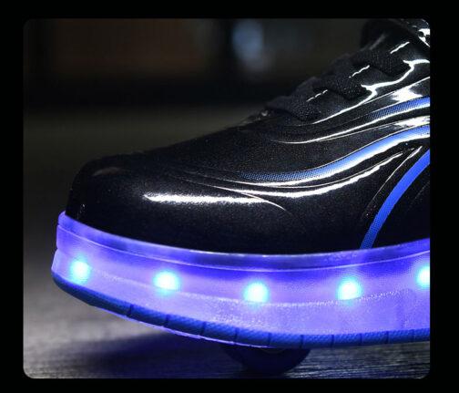 Light Up Shoes Boys Kids Girls Roller Skates Sneakers USB Charge LED Wheeled Skate 21