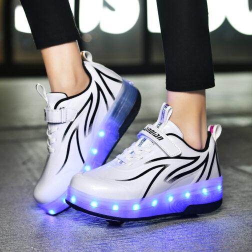 Light Up Shoes Boys Kids Girls Roller Skates Sneakers USB Charge LED Wheeled Skate