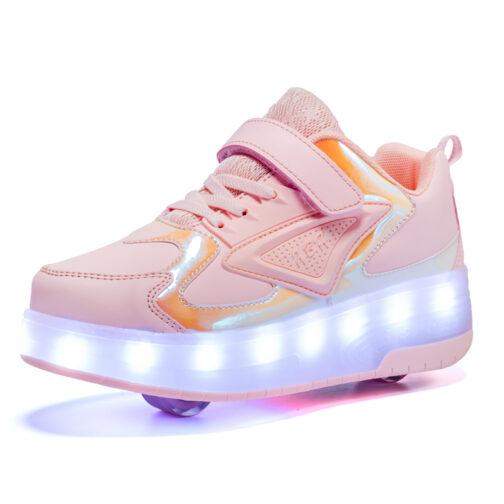 Light Up Shoes Kids Boys Girls Roller Skates Sneakers USB Charge LED Wheeled Skate