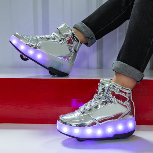 Roller Skates Boys Kids Girls Light Up Shoes USB Charge LED Wheeled Skate Sneakers