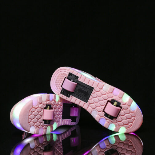 Roller Skates Girls Boys Kids Light Up Shoes USB Charge LED Wheeled Skate Sneakers 28