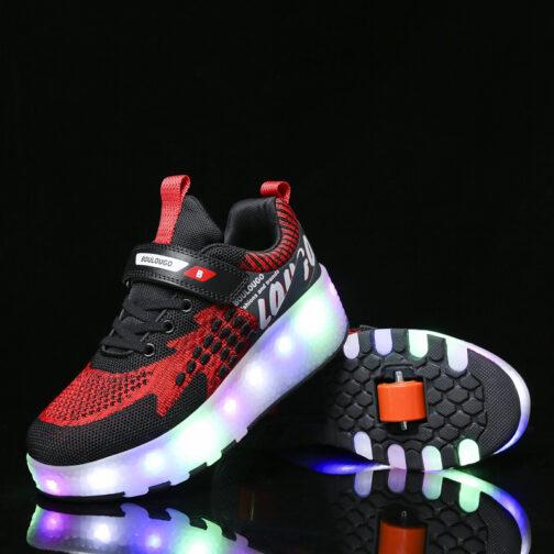 Roller Skates Girls Boys Kids Light Up Shoes USB Charge LED Wheeled Skate Sneakers 33