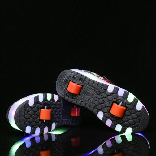 Roller Skates Girls Boys Kids Light Up Shoes USB Charge LED Wheeled Skate Sneakers 34