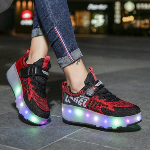 Roller Skates Girls Boys Kids Light Up Shoes USB Charge LED Wheeled Skate Sneakers