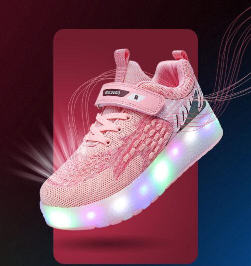Roller Skates Girls Boys Kids Light Up Shoes USB Charge LED Wheeled Skate Sneakers 71
