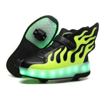 Roller Skates Kids Boys Girls Light Up Shoes USB Charge LED Wheeled Skate Sneakers