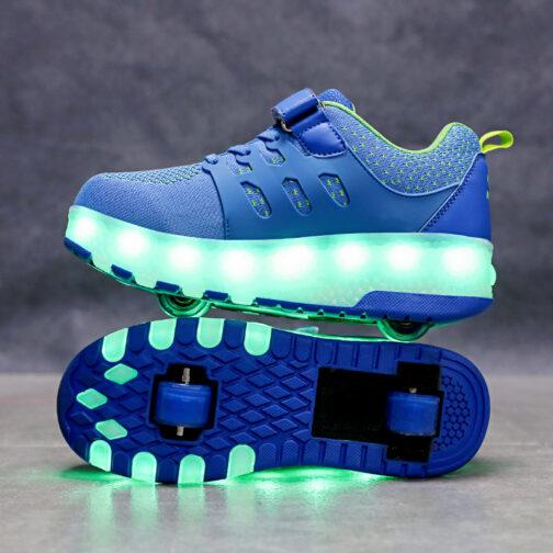 Roller Skates Kids Boys Girls Light Up Shoes Wheeled Skate USB Charge LED Sneakers