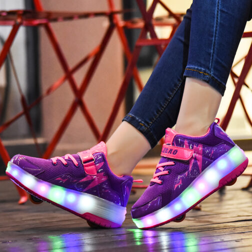 Roller Skates Light Up Shoes Kids Boys Girls USB Charge LED Wheeled Skate Sneakers