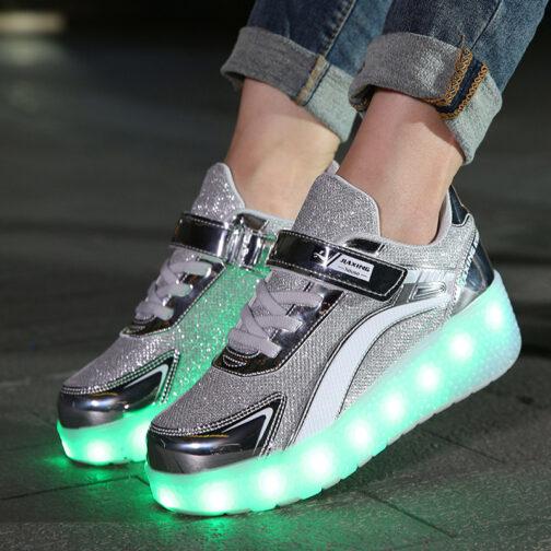 Roller Skates Light Up Shoes Kids Girls Boys USB Charge LED Wheeled Skate Sneakers