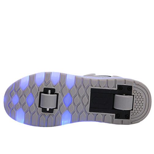 Roller Skates Light Up Shoes Kids Girls Boys USB Charge LED Wheeled Skate Sneakers 14