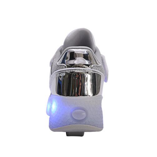 Roller Skates Light Up Shoes Kids Girls Boys USB Charge LED Wheeled Skate Sneakers 16