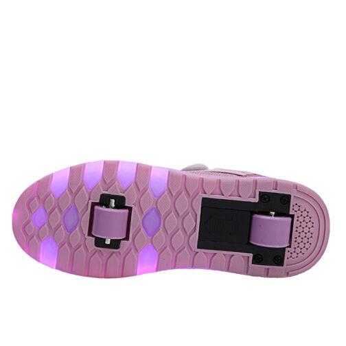 Roller Skates Light Up Shoes Kids Girls Boys USB Charge LED Wheeled Skate Sneakers 18