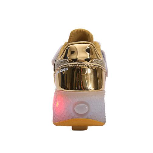 Roller Skates Light Up Shoes Kids Girls Boys USB Charge LED Wheeled Skate Sneakers 24