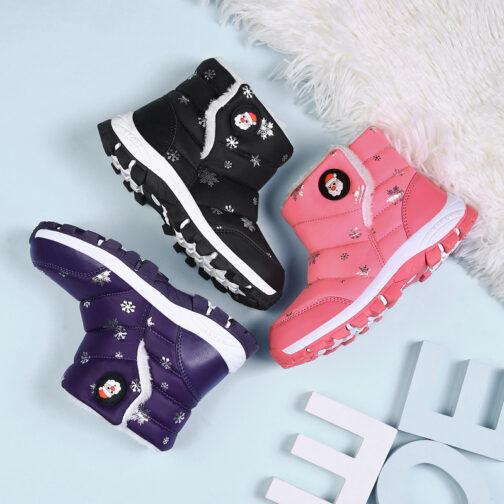 Boys Girls Kids Snow Boots Waterproof Slip Resistant Winter Shoes