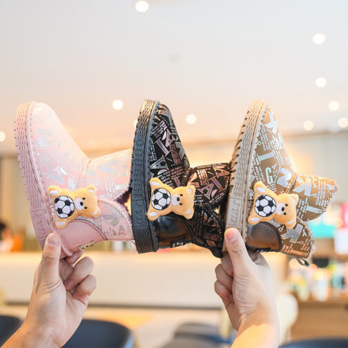 Girls Kids Snow Boots Waterproof Slip Resistant Winter Shoes 23