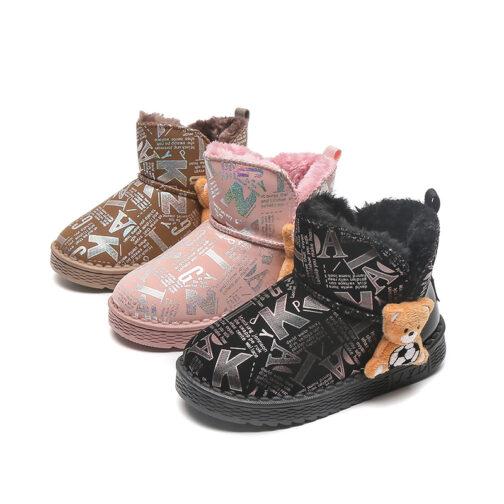 Girls Kids Snow Boots Waterproof Slip Resistant Winter Shoes
