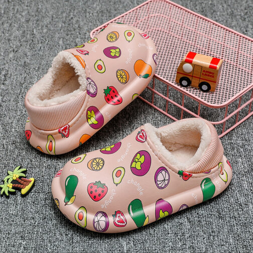 Kids Boys Girls Warm House Slippers Winter Indoor Home Shoes