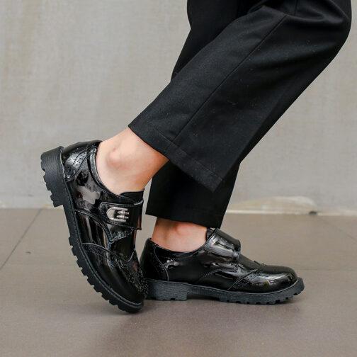 Kids Girls Boys Leather Dress Shoes